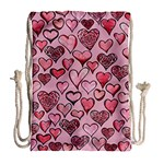 Artistic Valentine Hearts Drawstring Bag (Large) Back
