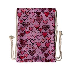 Artistic Valentine Hearts Drawstring Bag (small)