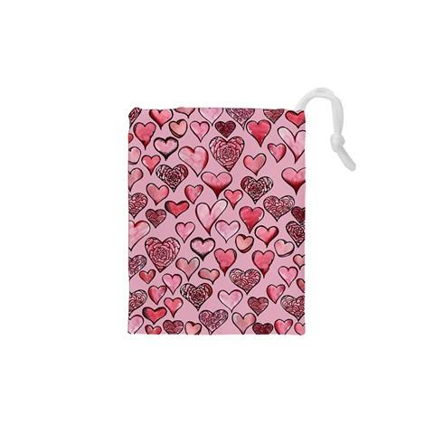 Artistic Valentine Hearts Drawstring Pouches (XS)