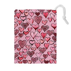 Artistic Valentine Hearts Drawstring Pouches (Extra Large)