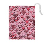 Artistic Valentine Hearts Drawstring Pouches (Extra Large) Front