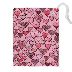 Artistic Valentine Hearts Drawstring Pouches (XXL)