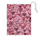 Artistic Valentine Hearts Drawstring Pouches (XXL) Front