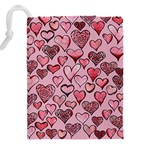 Artistic Valentine Hearts Drawstring Pouches (XXL) Back