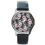 Winter Beautiful Foliage  Round Metal Watch Front