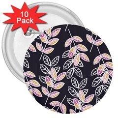 Winter Beautiful Foliage  3  Buttons (10 Pack)