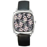 Winter Beautiful Foliage  Square Metal Watch Front