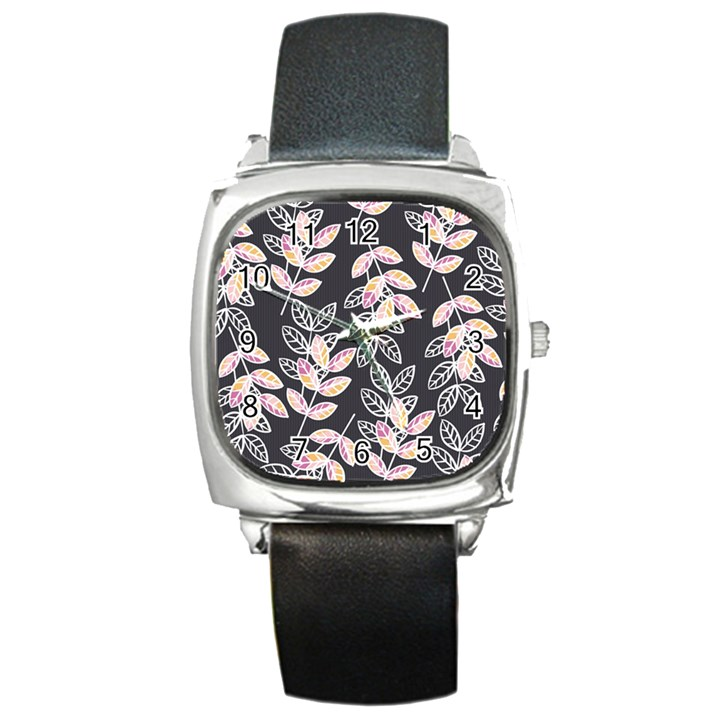 Winter Beautiful Foliage  Square Metal Watch