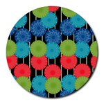 Vibrant Retro Pattern Round Mousepads Front