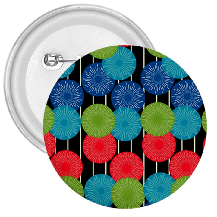 Vibrant Retro Pattern 3  Buttons