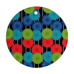 Vibrant Retro Pattern Ornament (round)