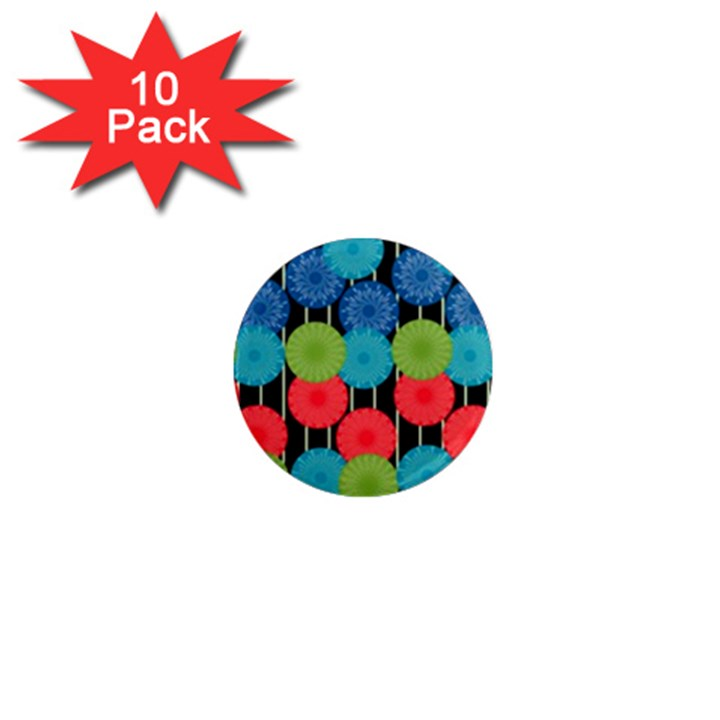 Vibrant Retro Pattern 1  Mini Magnet (10 pack)