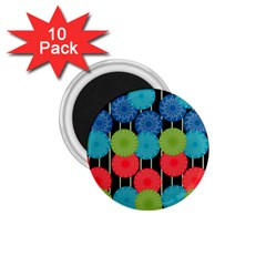 Vibrant Retro Pattern 1 75  Magnets (10 Pack)