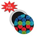Vibrant Retro Pattern 1.75  Magnets (10 pack)  Front