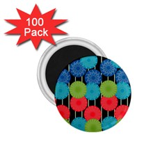 Vibrant Retro Pattern 1 75  Magnets (100 Pack)