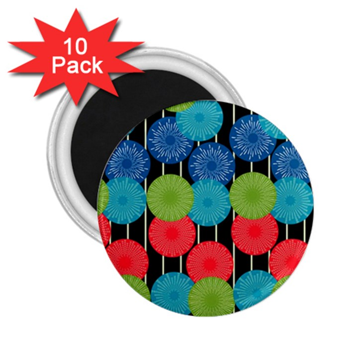 Vibrant Retro Pattern 2.25  Magnets (10 pack)