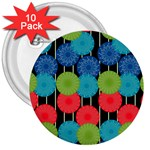 Vibrant Retro Pattern 3  Buttons (10 pack)  Front