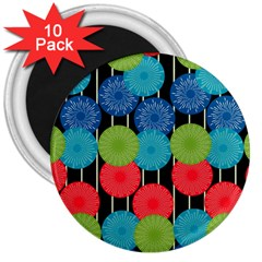 Vibrant Retro Pattern 3  Magnets (10 pack)