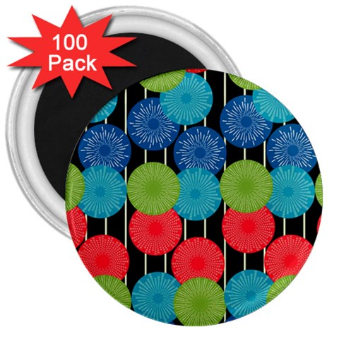 Vibrant Retro Pattern 3  Magnets (100 pack)