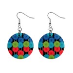 Vibrant Retro Pattern Mini Button Earrings Front