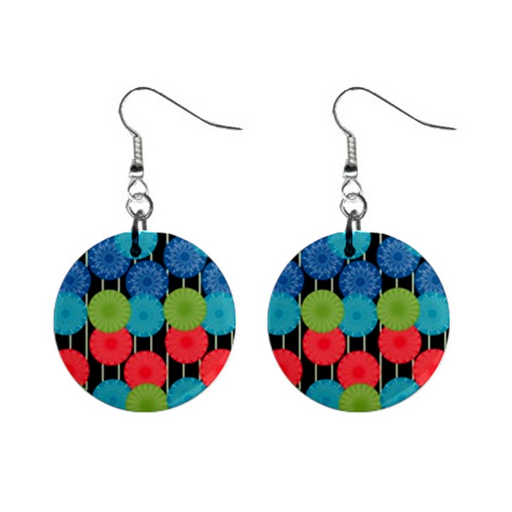 Vibrant Retro Pattern Mini Button Earrings