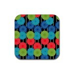 Vibrant Retro Pattern Rubber Square Coaster (4 pack)  Front