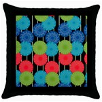 Vibrant Retro Pattern Throw Pillow Case (Black) Front