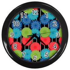 Vibrant Retro Pattern Wall Clocks (Black)
