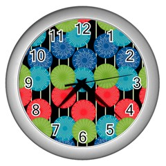 Vibrant Retro Pattern Wall Clocks (Silver)