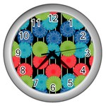 Vibrant Retro Pattern Wall Clocks (Silver)  Front