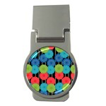 Vibrant Retro Pattern Money Clips (Round)  Front