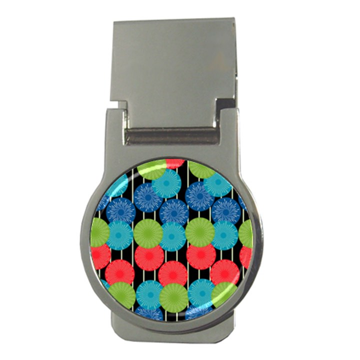 Vibrant Retro Pattern Money Clips (Round)