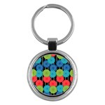 Vibrant Retro Pattern Key Chains (Round)  Front