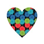 Vibrant Retro Pattern Heart Magnet Front