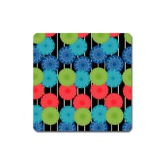 Vibrant Retro Pattern Square Magnet