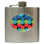Vibrant Retro Pattern Hip Flask (6 oz) Front
