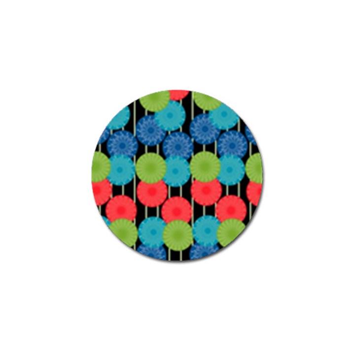 Vibrant Retro Pattern Golf Ball Marker