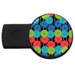 Vibrant Retro Pattern USB Flash Drive Round (1 GB)  Front