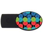 Vibrant Retro Pattern USB Flash Drive Oval (1 GB)  Front