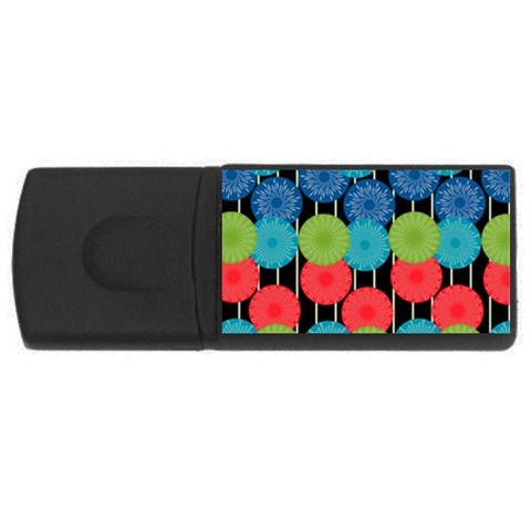 Vibrant Retro Pattern USB Flash Drive Rectangular (2 GB)