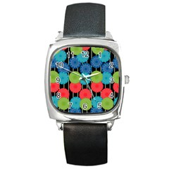 Vibrant Retro Pattern Square Metal Watch