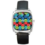 Vibrant Retro Pattern Square Metal Watch Front