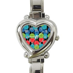 Vibrant Retro Pattern Heart Italian Charm Watch
