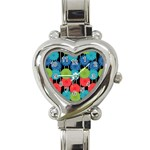 Vibrant Retro Pattern Heart Italian Charm Watch Front