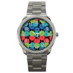 Vibrant Retro Pattern Sport Metal Watch Front