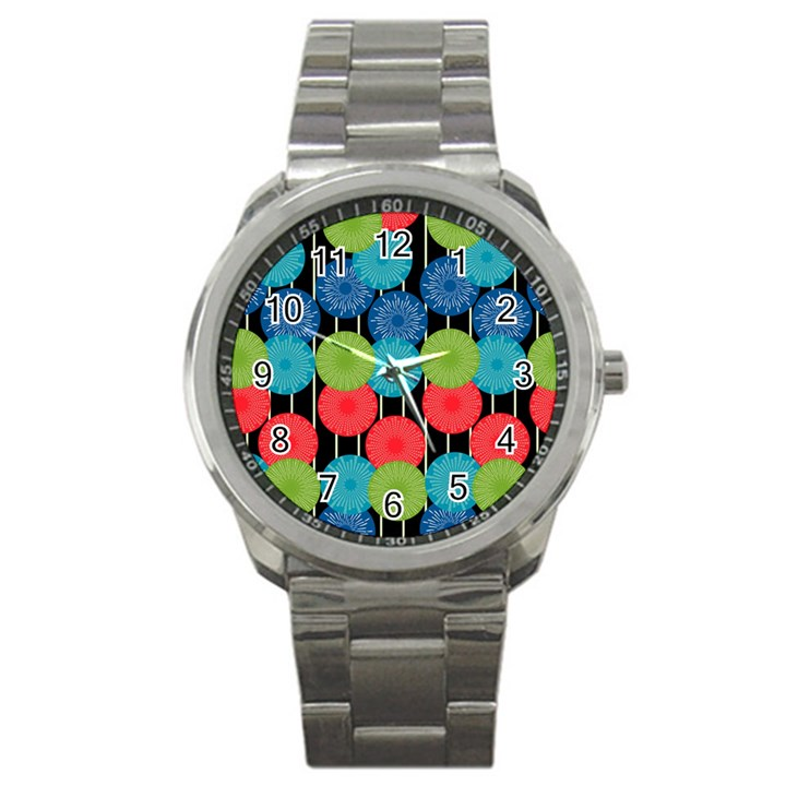 Vibrant Retro Pattern Sport Metal Watch