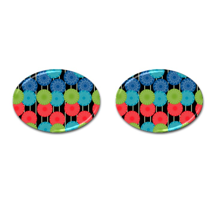 Vibrant Retro Pattern Cufflinks (Oval)