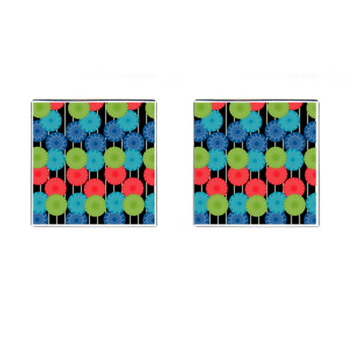 Vibrant Retro Pattern Cufflinks (Square)