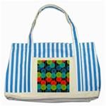 Vibrant Retro Pattern Striped Blue Tote Bag Front