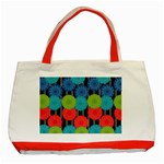Vibrant Retro Pattern Classic Tote Bag (Red) Front